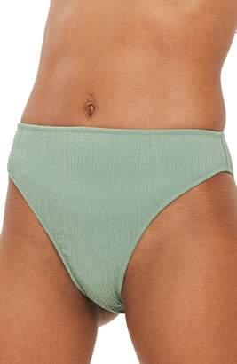 Topshop Shirred High-Waist Bikini Bottoms