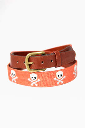 Smathers and Branson Exclusive Coral Jolly Roger Needlepoint Belt