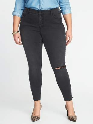 Old Navy High-Rise Secret-Slim Plus-Size Raw-Edge Rockstar Jeans