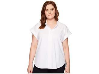 Lysse Plus Size Rosa Shirt Women's Short Sleeve Button Up