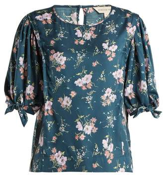 Rebecca Taylor Emilia Floral Print Silk Twill Top - Womens - Navy Multi