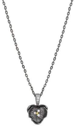 Michael Aram Small Orchid Pendant Necklace with Diamonds in Black Rhodium Plate