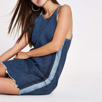 River Island Womens Blue side stripe tie back denim dress