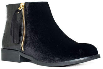 GC Shoes Paylin Flat Velvet Ankle Bootie