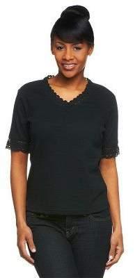Denim & Co. Short Sleeve V-Neck Top with Crochet Trim