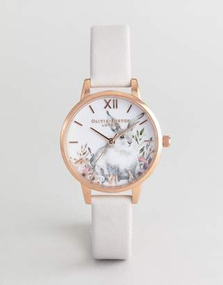 Olivia Burton OB16WL66 Illustrated Animals Leather Watch In Blush