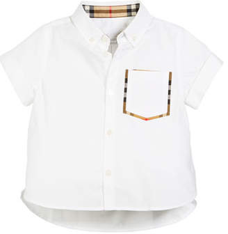 Burberry Harry Short-Sleeve Check-Trim Pocket Shirt, Size 3-14