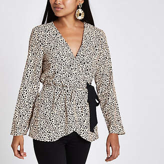 River Island Petite pink leopard print tie side blouse