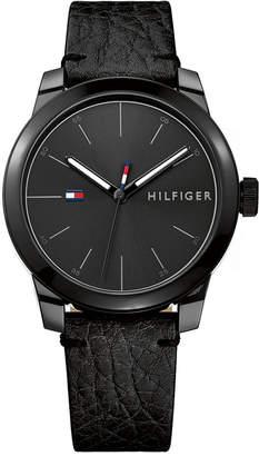 Tommy Hilfiger Men Black Leather Strap Watch 42mm