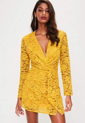 Missguided Yellow Plunge Lace Twist Front Dress