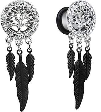Body Candy Women's Steel Single Flare Clear Accent Tree of Life Feather Dangle Body Piercing Plug Set 00 Gauge