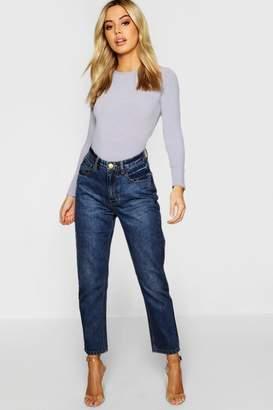 boohoo Petite Mid Wash Mom Jeans