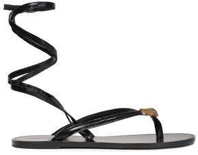 Roberto Cavalli Embellished Lizard-effect Leather Sandals