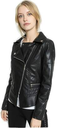 Moto LIANGLIANG Women's Faux Leather Stand-up Collar Biker Short Jacket,Cropped Jacket (M, )