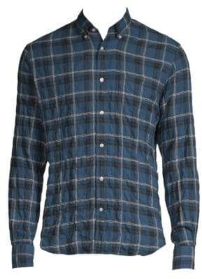 Officine Generale Crinkle Check Button-Down Shirt
