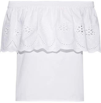 Draper James Off-the-shoulder Broderie Anglaise Cotton Top - White