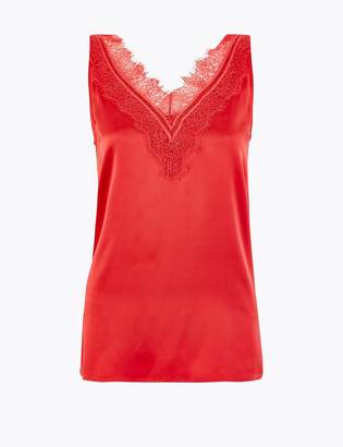 AutographMarks and Spencer Pure Silk Lace Trim Camisole Top