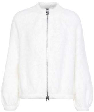 Angora-blend knitted cardigan