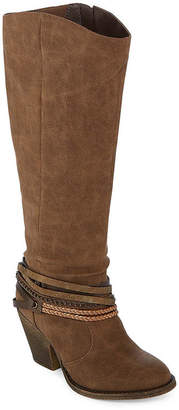 POP Womens Drake Riding Boots Stacked Heel Zip