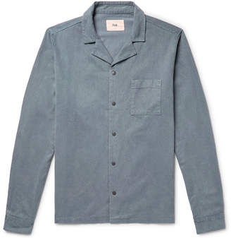 Folk Camp-Collar Brushed Lycocell and Cotton-Blend Twill Shirt