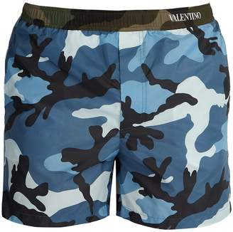 Valentino Camouflage-print swim shorts