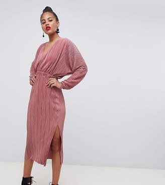 Asos Tall DESIGN Tall batwing midi plisse dress
