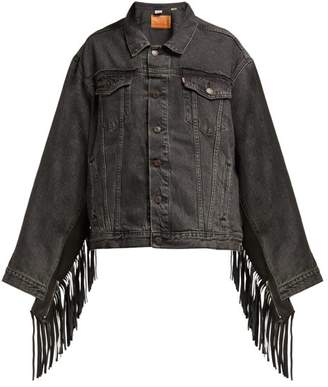 Vetements Tasselled Denim Jacket - Womens - Dark Grey
