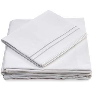+Hotel by K-bros&Co Queen Size Bed Sheets - White Luxury Sheet Set - Deep Pocket - Super Soft Hotel Bedding - Cool & Wrinkle Free - 1 Fitted