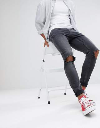 Cheap Monday Him Spray Ripped Super Skinny Jeans Blow Black