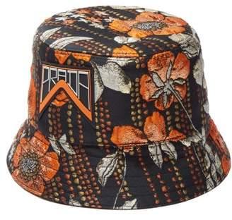 Prada Metallic Floral Jacquard Bucket Hat - Womens - Orange