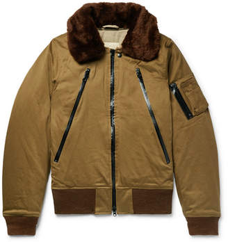 Monitaly B-15 Faux Shearling-Trimmed Cotton-Twill Bomber Jacket