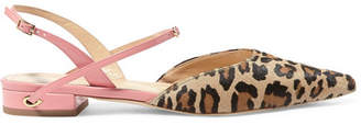 Jennifer Chamandi - Vittorio Leopard-print Calf Hair And Patent-leather Point-toe Flats - Leopard print