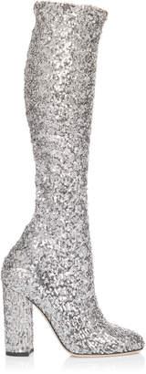 Dolce & Gabbana Silver Sequin Boot