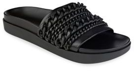 KENDALL + KYLIE Shiloh Chain-Link Leather Pool Slide Sandals $125 thestylecure.com