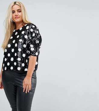 Asos Spot Sequin Tee with Puff Sleeve