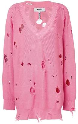 MSGM oversize holey knitted jumper