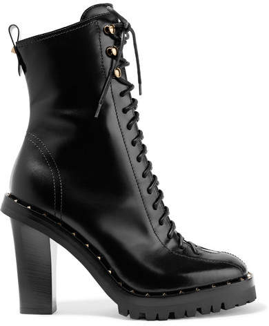 Valentino - Soul Rockstud Glossed-leather Boots - Black