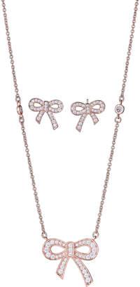 Crislu Rose Gold-Tone Bow Necklace & Earrings Set