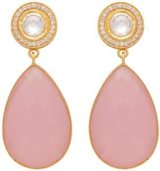 Carousel Jewels - Double Drop Rose Quartz & Crystal Earrings
