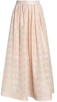 Alice + Olivia Alice+olivia Sequin-Embellished Embroidered Gauze Maxi Skirt