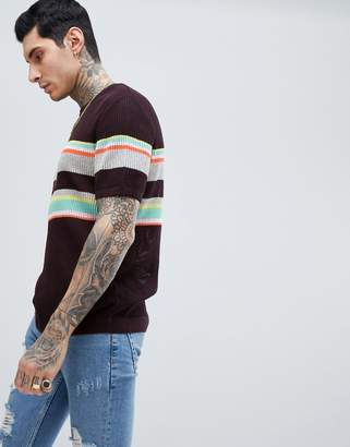 Asos DESIGN Knitted Mesh T-Shirt With Stripes