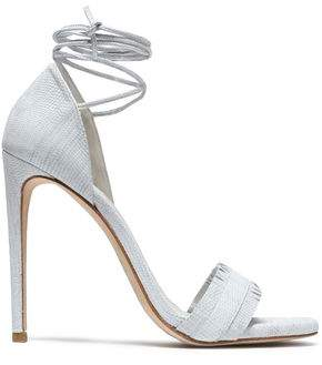 Stuart Weitzman Lace-up Fringed Lizard-effect Leather Sandals