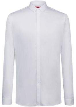 HUGO Boss Extra-slim-fit business shirt in cotton sateen 15.5 Open White