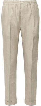 Rubinacci Tapered Pleated Herringbone Linen Drawstring Trousers