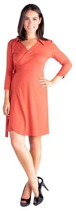 24seven Comfort Apparel Collared V-Neck 3/4 Sleeve Wrap Dress