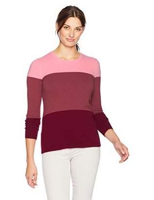 Lark & Ro Women's Crewneck Color Blocked Cashmere Sweater