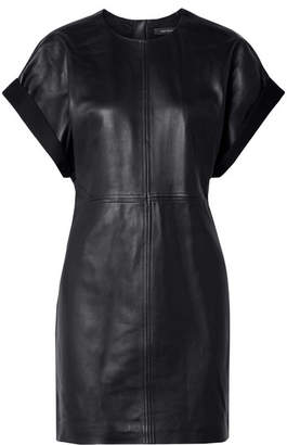 Isabel Marant Costa Jersey-trimmed Leather Mini Dress - Black