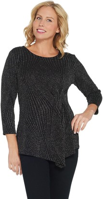 Belle By Kim Gravel Belle by Kim Gravel Pattern Lurex Top with Side Detail