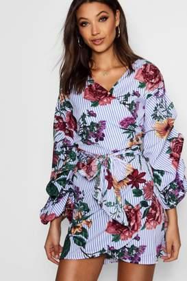 boohoo Tall Floral Stripe Wrap Mini Dress