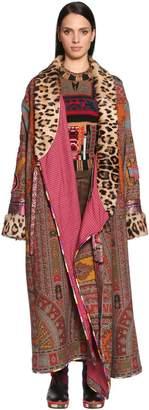Etro Printed Cool Wool Coat W/ Fur